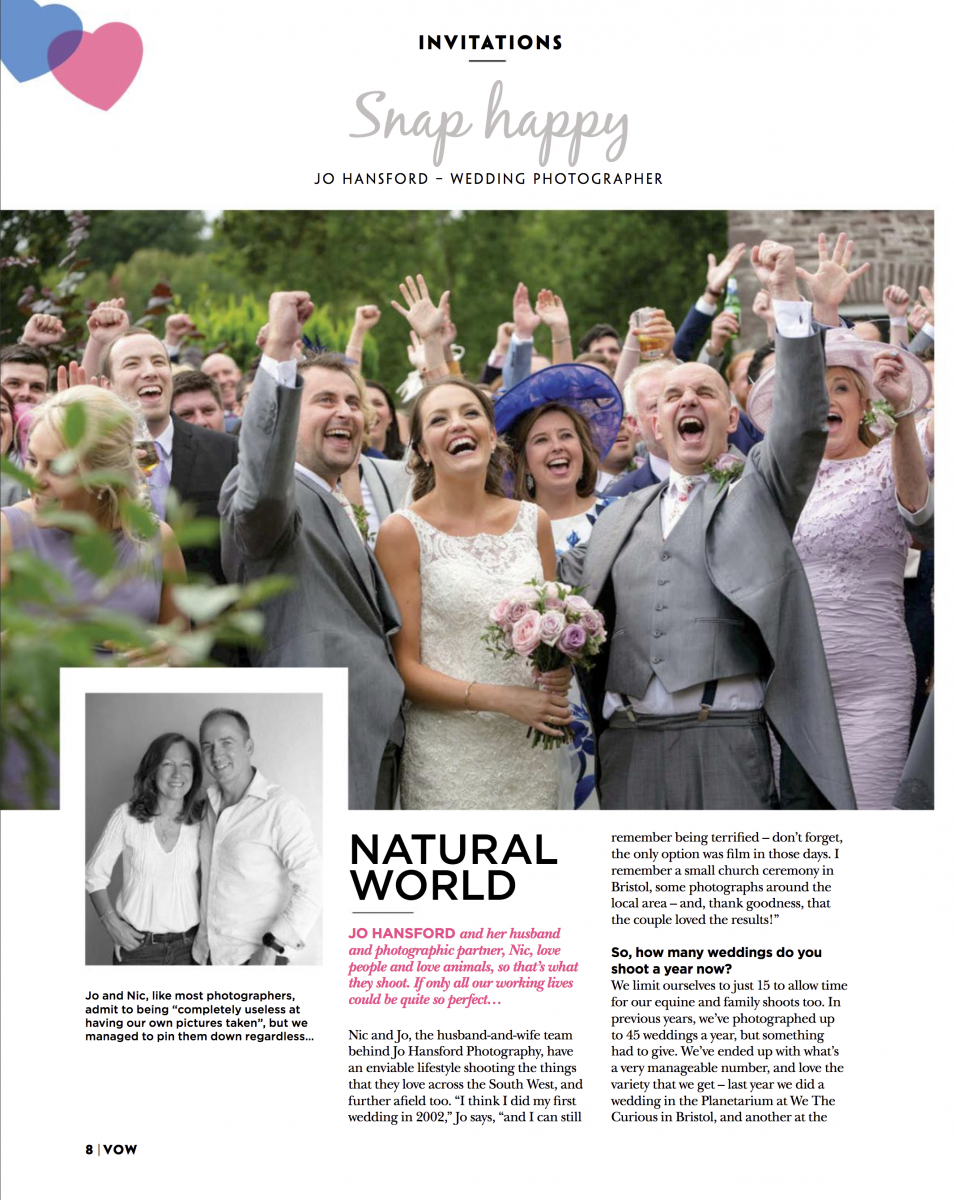Wedding feature in Vow magazine